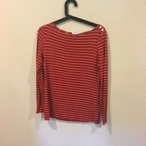 Amour Vert Tops - Amour Vert red and white striped long sleeve top